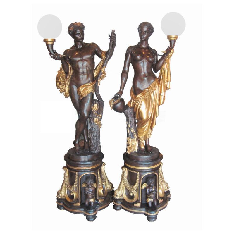 SRB706546 Bronze Man and Woman Torchiere Sculpture Set Metropolitan Galleries Inc.