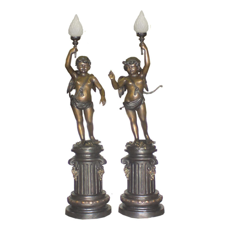 SRB706554 Bronze Boys on Pedestal Torchiere Sculpture Pair Metropolitan Galleries Inc