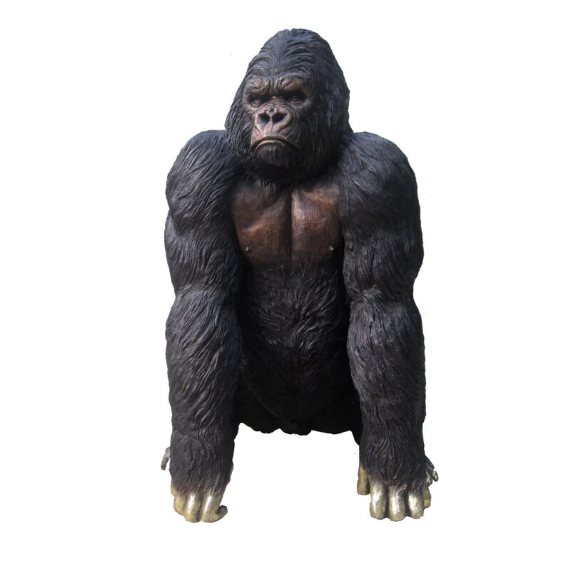 SRB706678 Bronze Gorilla Sculpture Metropolitan Galleries Inc