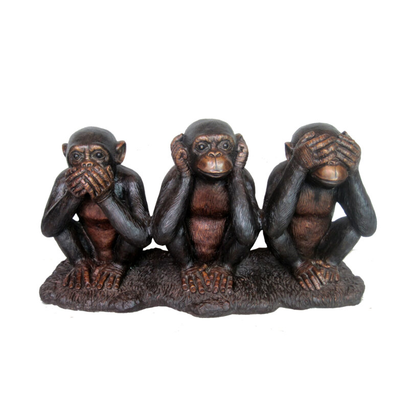 SRB706872 Bronze Three Wise Monkeys Sculpture Metropolitan Galleries Inc