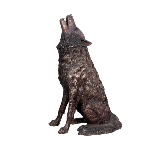 SRB075032 Bronze Howling Wolf Sculpture Metropolitan Galleries Inc.