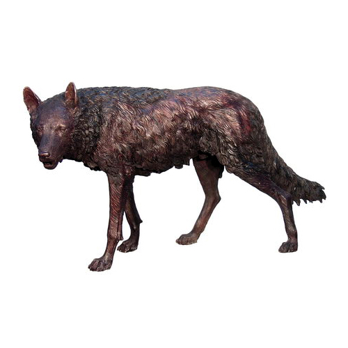 SRB075034 Bronze Standing Wolf Sculpture Metropolitan Galleries Inc.