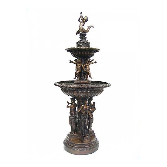 SRB704856 Bronze Lady Musicians & Cherubs Tier Fountain Metropolitan Galleries Inc