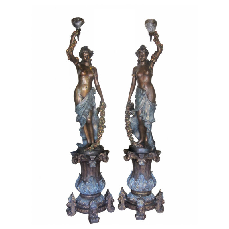 SRB706664 Bronze Lady with Garland Torchiere Sculpture Set Metropolitan Galleries Inc