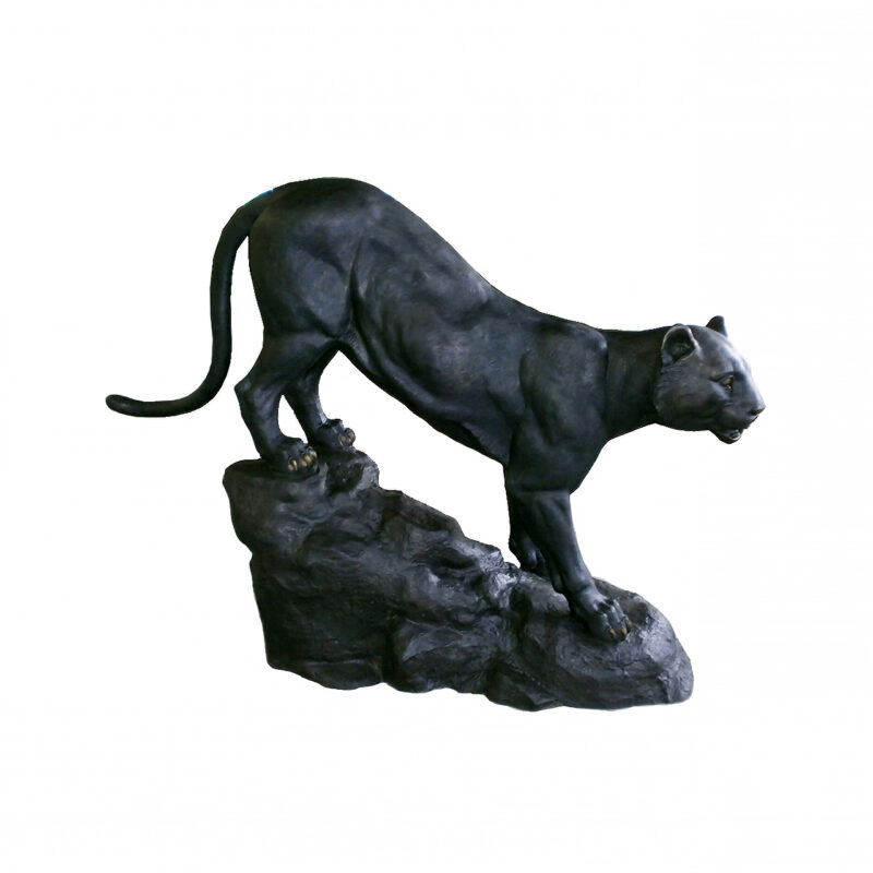 SRB706685 Bronze Panther on Rock Sculpture