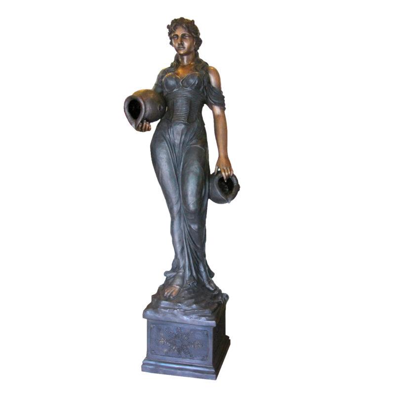 SRB707070 Bronze Woman holding Jar atop Pedestal Fountain Sculpture Metropolitan Galleries Inc