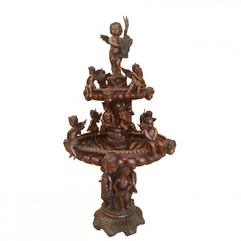 SRB707186 Bronze Cherubs & Birds Tier Fountain Metropolitan Galleries Inc