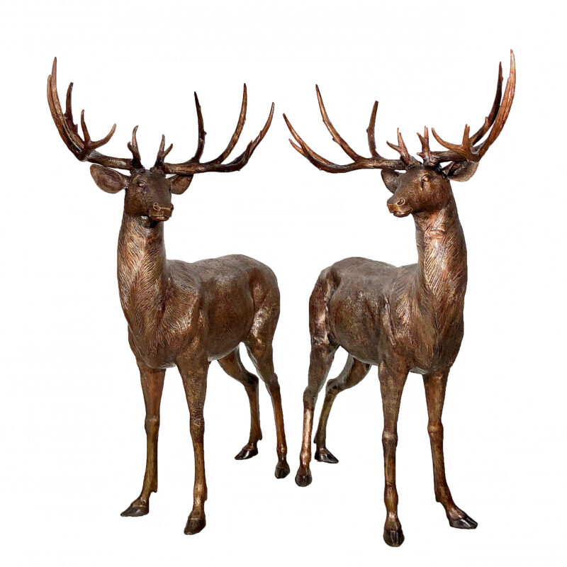 SRB10069 Bronze Deer Sculpture Pair Light Patina by Metropolitan Galleries Inc