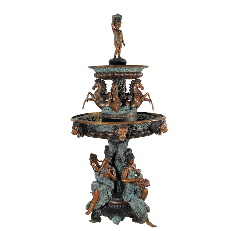 SRB704857 Bronze Horses & Lady Musicians Tier Fountain by Metropolitan Galleries in Special Three Color Patina