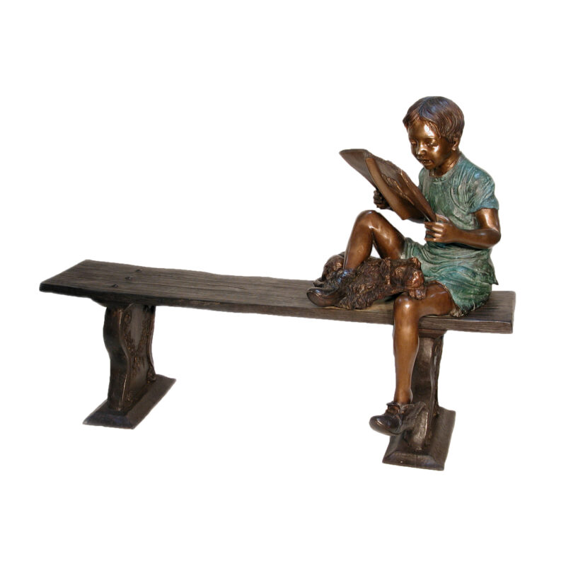 SRB050080 Bronze Boy & Dog Reading Book on Bench Sculpture by Metropolitan Galleries Inc