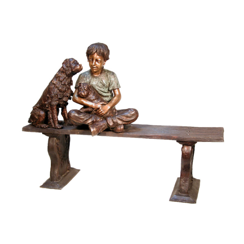 SRB050210 Bronze Girl with Dog & Puppy Sculpture by Metropolitan Galleries Inc