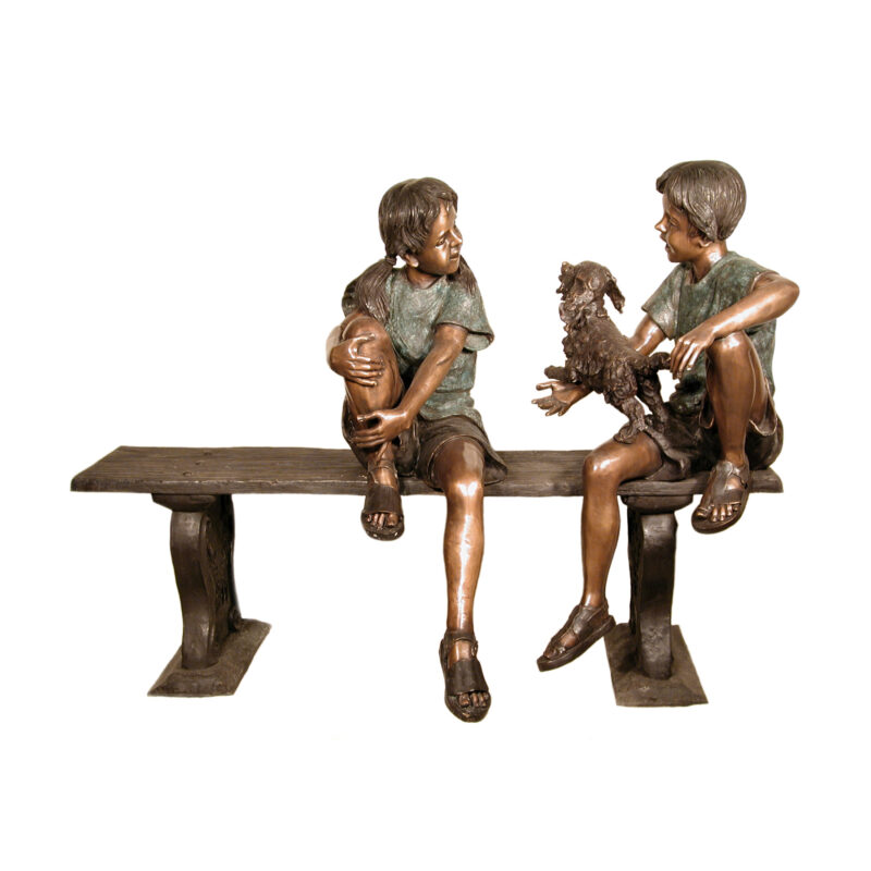 SRB050245 Bronze Boy & Girl with Dog on Bench Sculpture by Metropolitan Galleries Inc