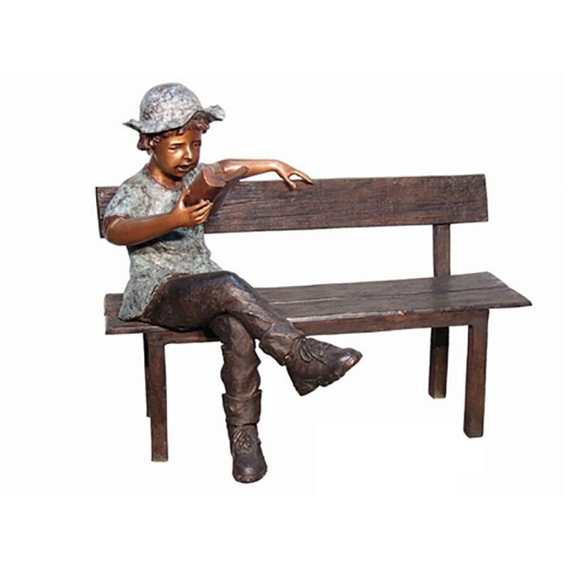 SRB050394 Bronze Boy Reading Book on Bench Sculpture by Metropolitan Galleries Inc