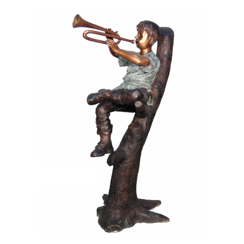 SRB050404 Bronze Boy playing Trumpet in Tree Sculpture by Metropolitan Galleries Inc