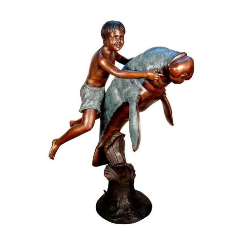 SRB050578 Bronze Boy on Manatee Fountain Sculpture by Metropolitan Galleries Inc