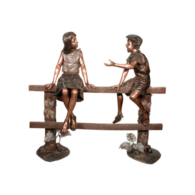 SRB057125 Bronze Farm Kids Sitting on Fence Sculpture by Metropolitan Galleries Inc