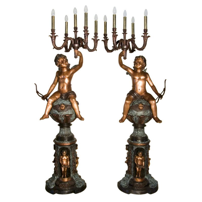 SRB057132 Bronze Cupid Bouquet of Lights Sculpture Set by Metropolitan Galleries Inc