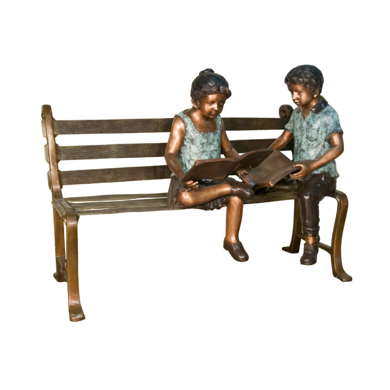 SRB057510 Bronze Boy & Girl Reading Books on Bench Sculpture by Metropolitan Galleries Inc