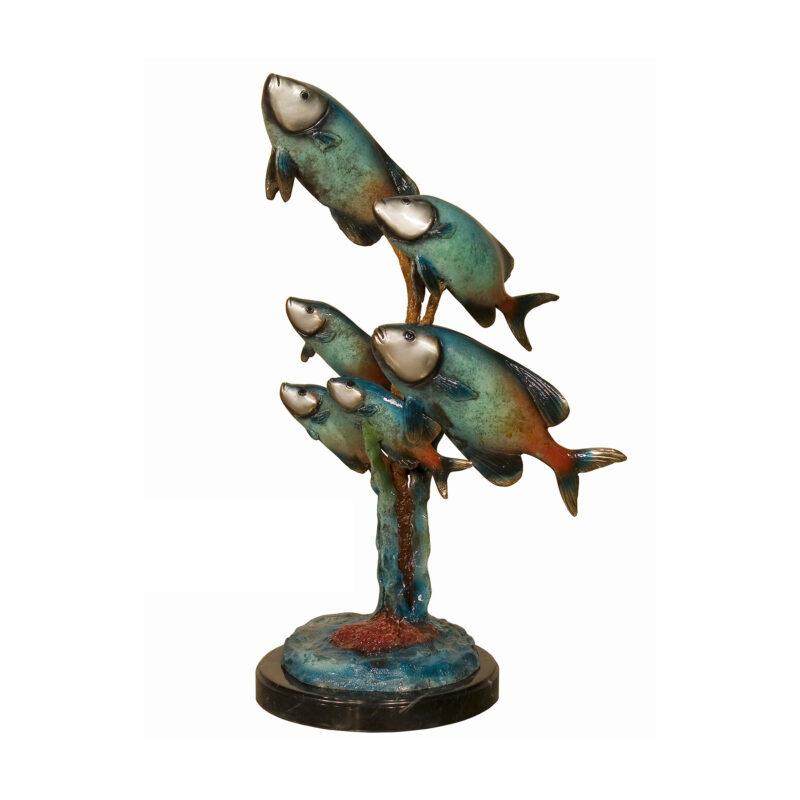 SRB094142C Bronze Six Colorful Trout on Marble Base Sculpture by Metropolitan Galleries Inc