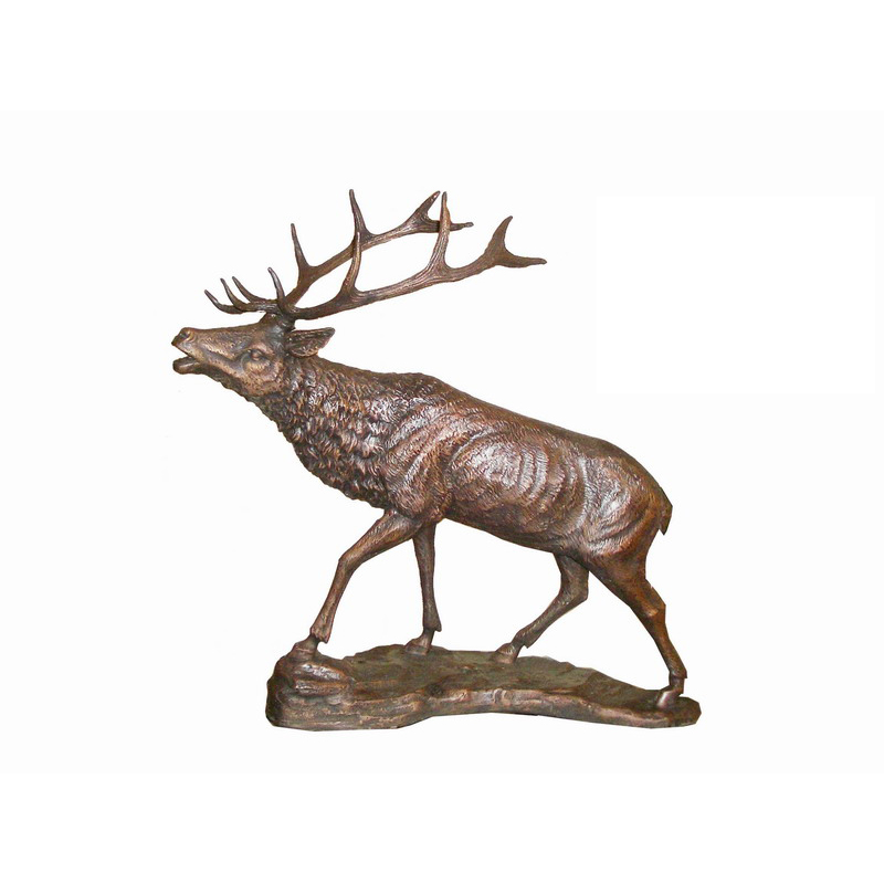 SRB705166 Bronze Walking Deer on Rock Sculpture by Metropolitan Galleries Inc