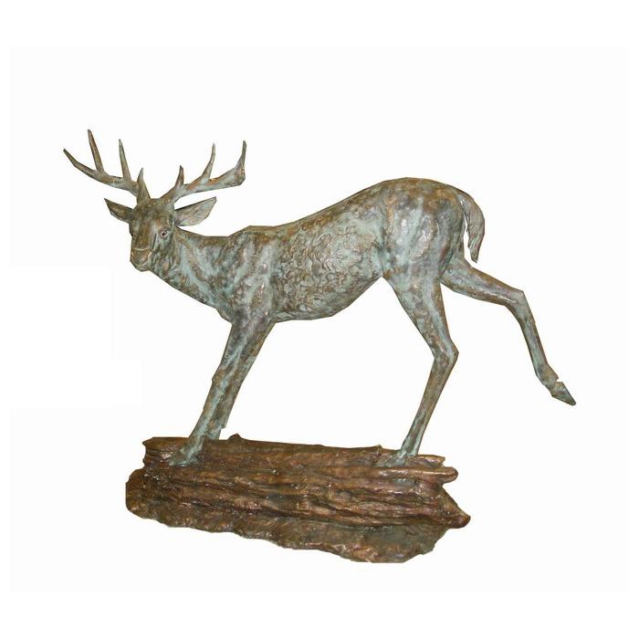 SRB705376 Bronze Deer on Rock Sculpture by Metropolitan Galleries Inc