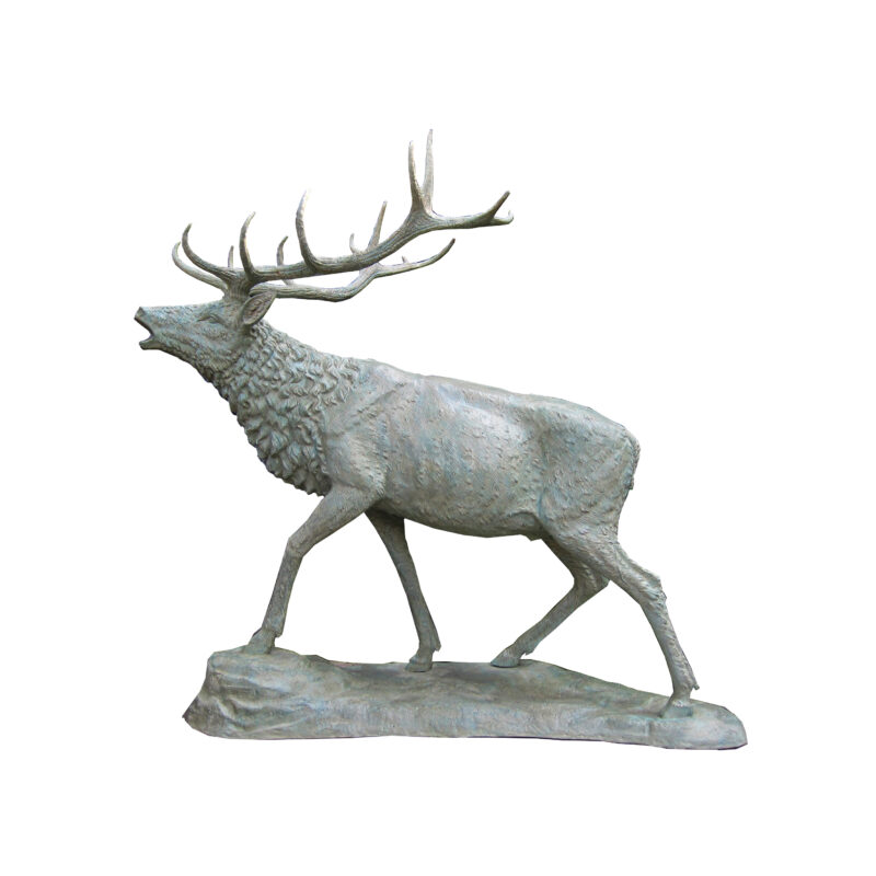 SRB705400 Bronze Verdigris Elk on Rock Sculpture by Metropolitan Galleries Inc