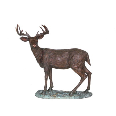 SRB706407 Bronze Standing Deer on Base Sculpture by Metropolitan Galleries Inc