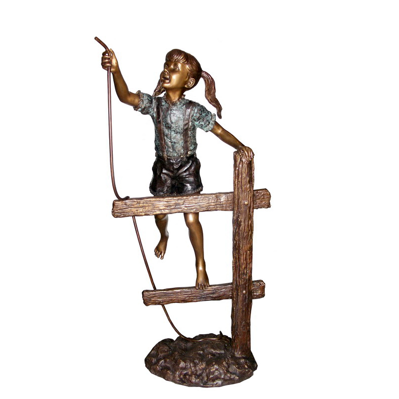 SRB706453 Bronze Girl on Fence holding Rope Sculpture by Metropolitan Galleries Inc
