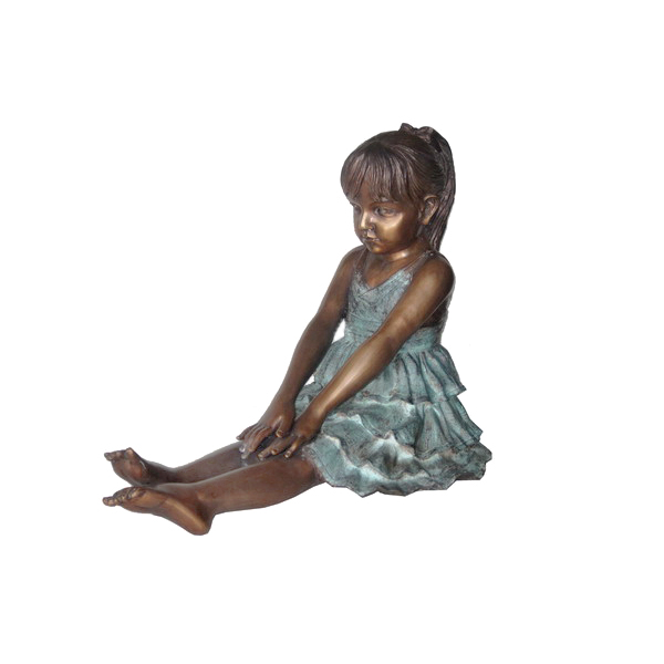 SRB706574 Bronze Sitting Girl wearing Dress Sculpture by Metropolitan Galleries Inc