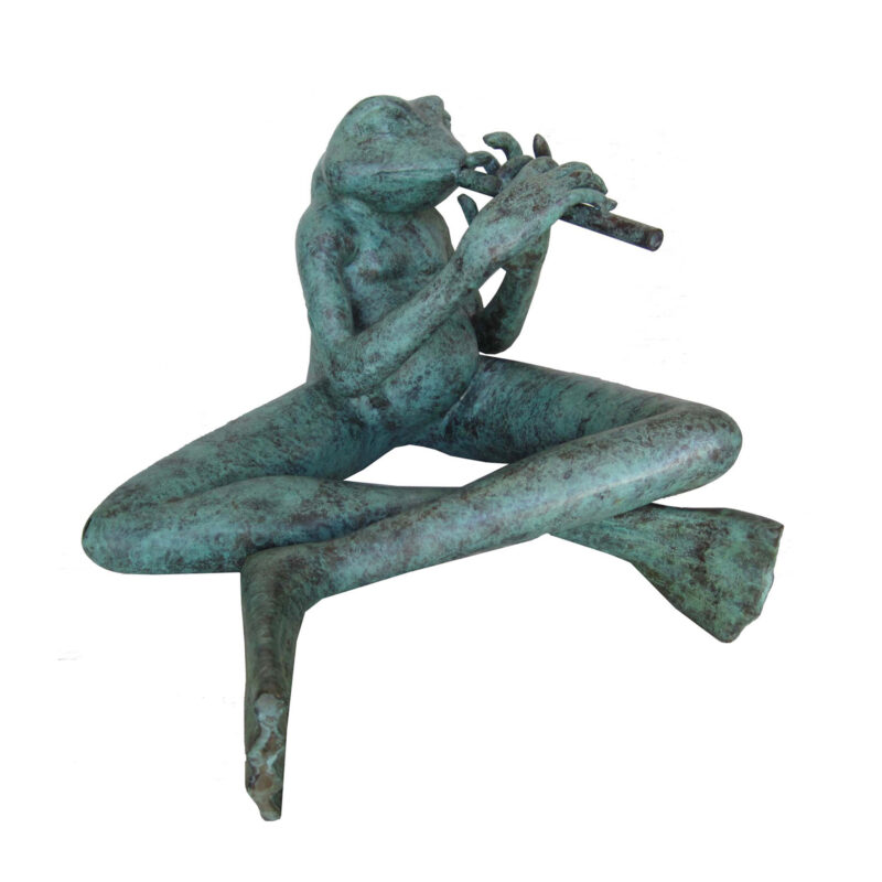 SRB706984 Bronze Frog playing Flute Sculpture by Metropolitan Galleries Inc