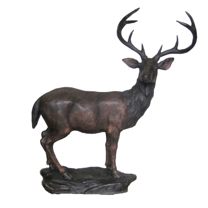 SRB707083 Bronze Standing Deer on Rock Sculpture by Metropolitan Galleries Inc