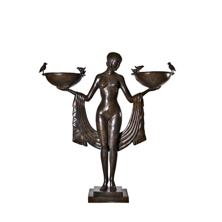 SRB89008 Bronze Art Deco Nude Goddess Standing Fountain by Metropolitan Galleries Inc