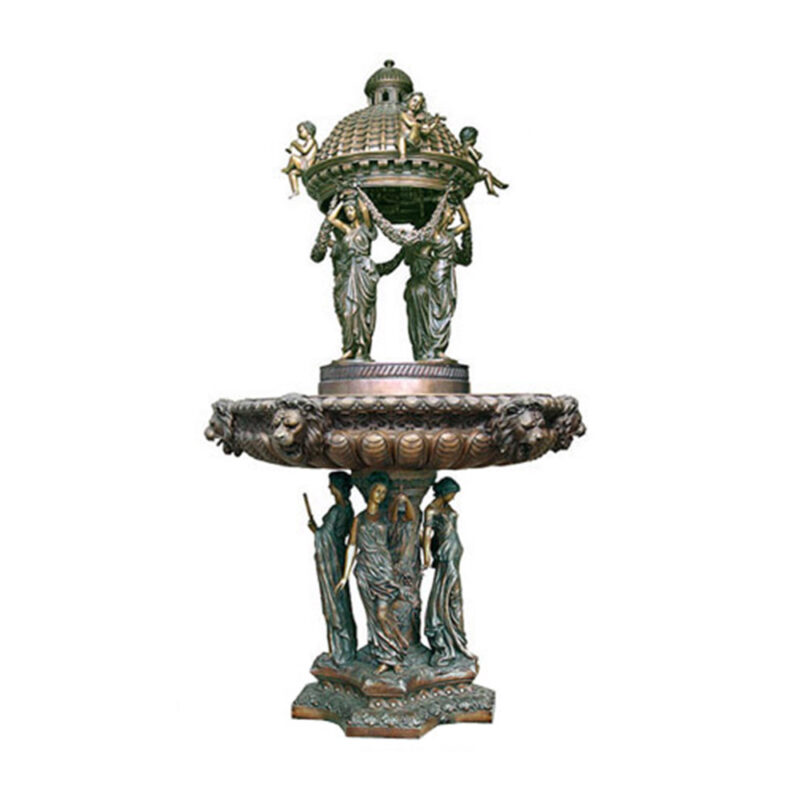 SRB704854 Bronze Ladies & Cherubs Domed Tier Fountain by Metropolitan Galleries Inc