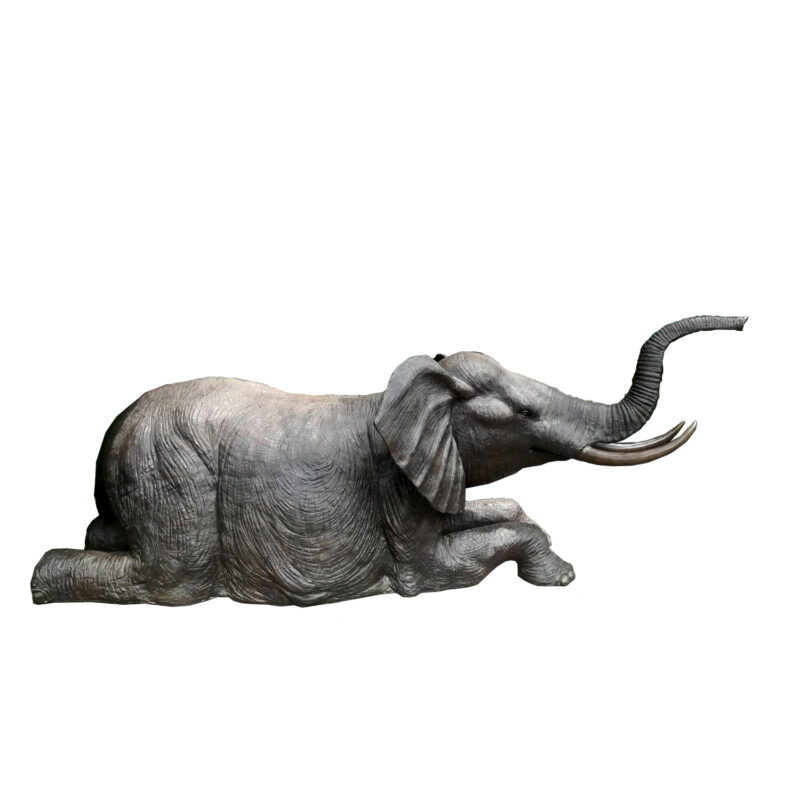 SRB707471 Bronze Kneeling Elephant Fountain Sculpture by Metropolitan Galleries Inc