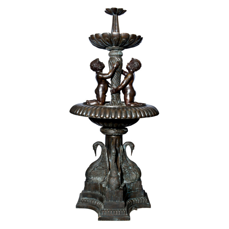 SRB992528 Bronze Boys with Swans Tier Fountain by Metropolitan Galleries