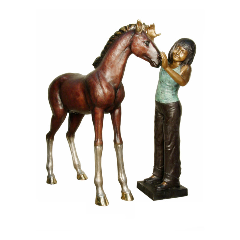 SRB028966-91 Bronze Girl with Horse Sculpture by Metropolitan Galleries Inc