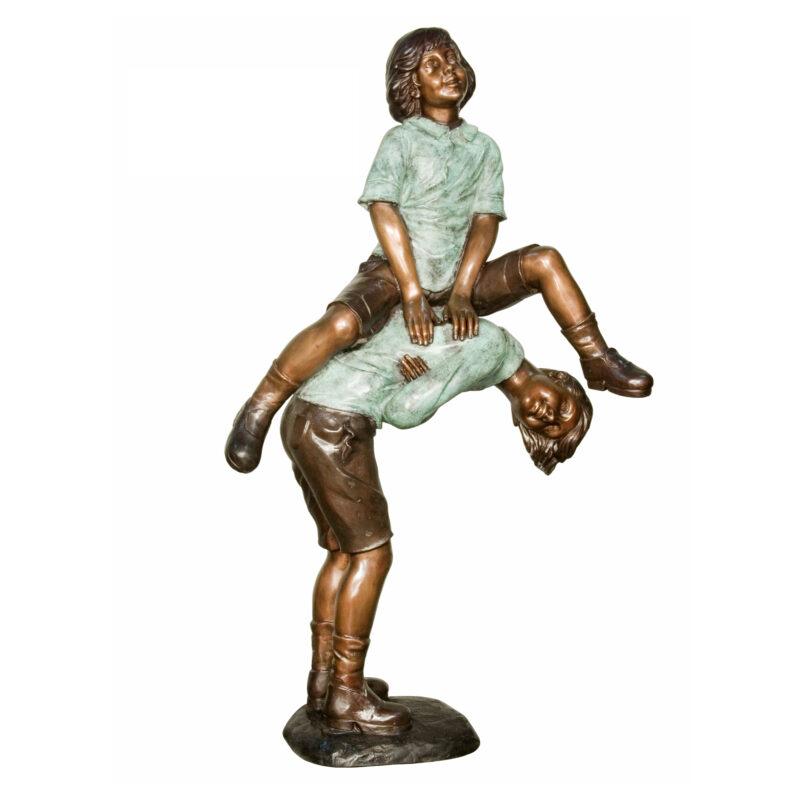 SRB029526 Bronze Girl & Boy Leap Frog Sculpture by Metropolitan Galleries Inc