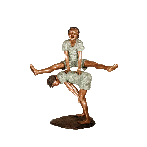 SRB052206 Bronze Two Boys Leap Frog Sculpture by Metropolitan Galleries Inc