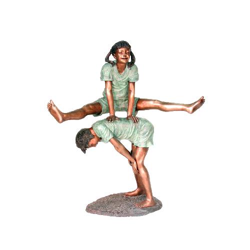 SRB052385 Bronze Girl & Boy Leap Frog Sculpture by Metropolitan Galleries Inc
