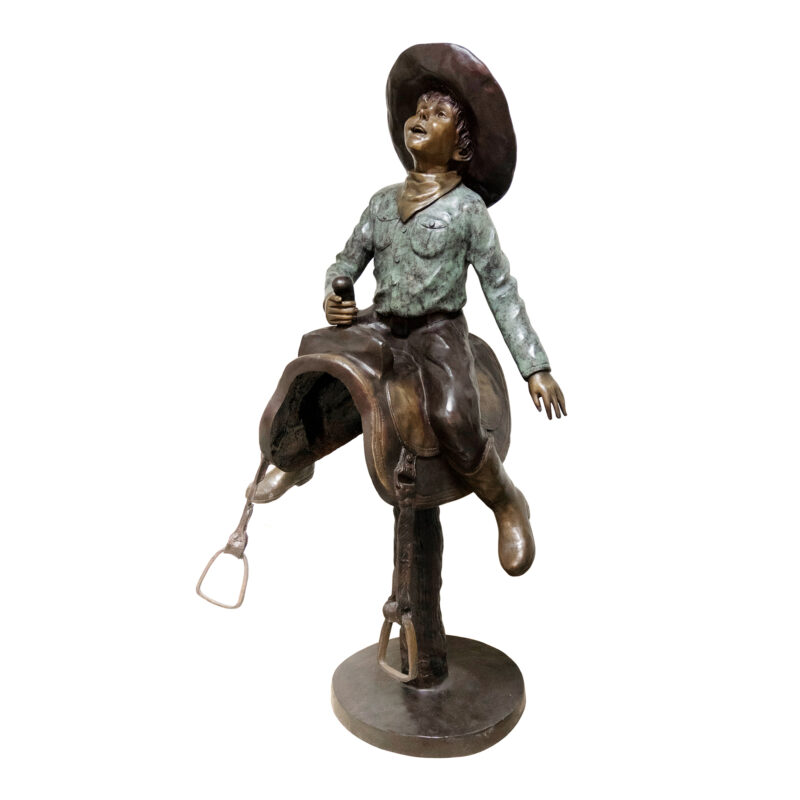 SRB054188 Bronze Cowboy on Saddle Sculpture by Metropolitan Galleries Inc