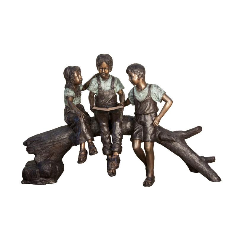 SRB057836 Bronze Three Children Reading on Log Sculpture by Metropolitan Galleries Inc