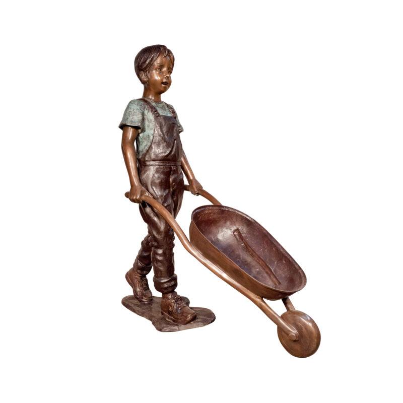 SRB074090 Bronze Boy with Wheelbarrow Sculpture by Metropolitan Galleries Inc