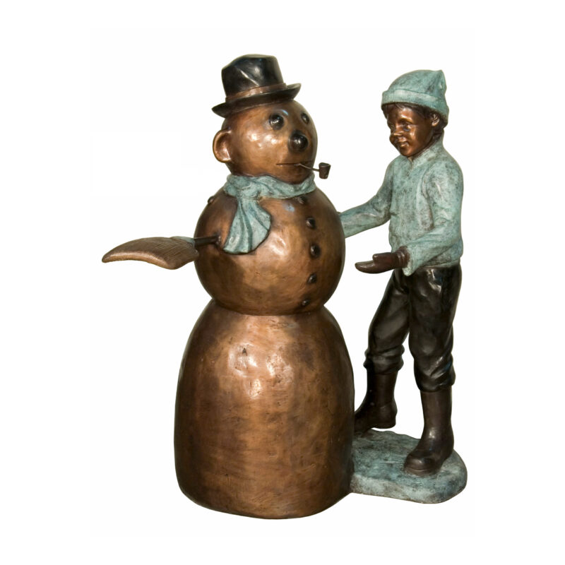 SRB074424 Bronze Boy & Snowman Sculpture by Metropolitan Galleries Inc