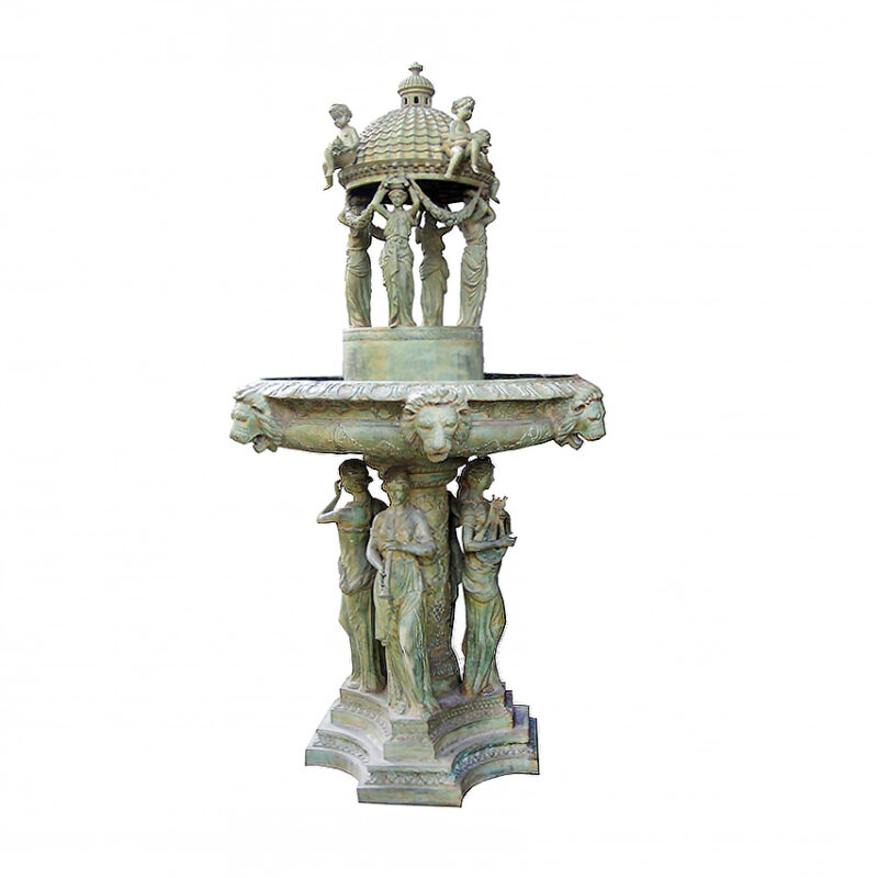 SRB704908 Bronze Domed Ladies Garland Tier Fountain by Metropolitan Galleries Inc