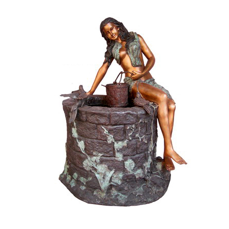 SRB705951 Bronze Lady at Water Well Sculpture by Metropolitan Galleries Inc