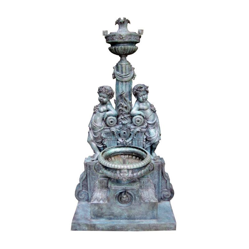 SRB706559 Bronze Classical Cherubs Wall Fountain by Metropolitan Galleries Inc