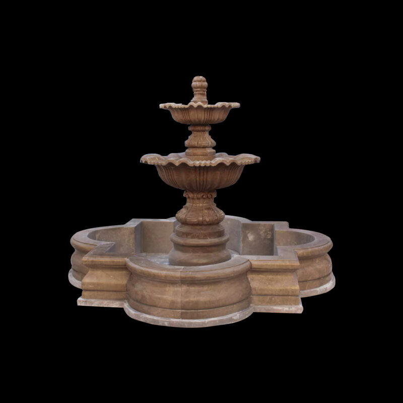 JBF057 Marble Traditional Tier Fountain with Coping in Sunset Red by Metropolitan Galleries Inc