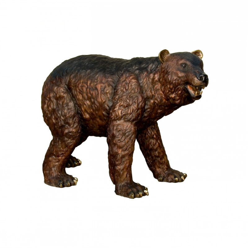 SRB081187 Bronze Walking Bear Sculpture by Metropolitan Galleries Inc