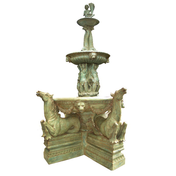SRB703210 Bronze Massive Hippocampus Tier Fountain by Metropolitan Galleries Inc