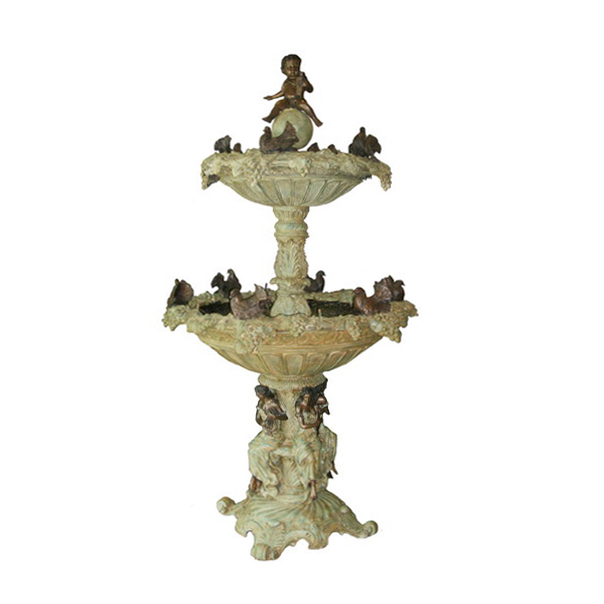 SRB704462 Bronze Boy with Pigeons Tier Fountain by Metropolitan Galleries Inc